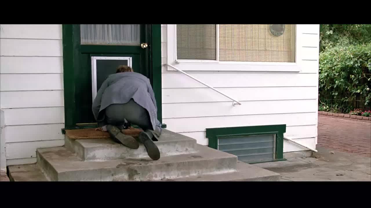 男子刚把头从门狗洞伸进就被屋内狗狗盯上