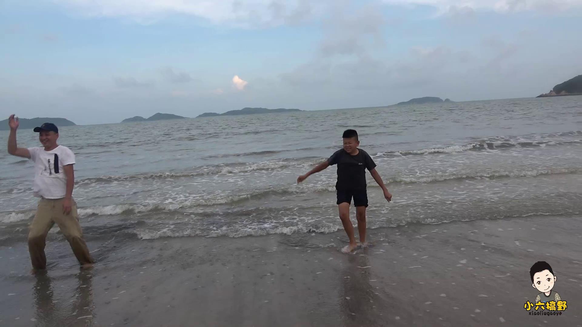 海滩上的欢乐时光,小六边玩边挖海货,四哥高兴到跳起了海草舞