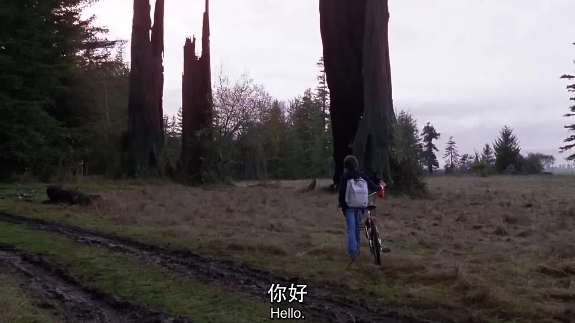 外星人看见男孩吓坏了,一直大叫,跑进灌木丛逃命