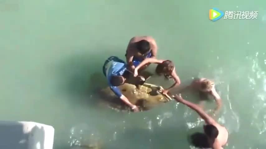男子河边钓鱼,鱼竿都快拉断了,没想到被拉上来的鱼惊到了