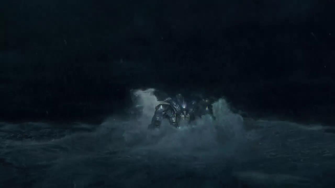钢铁巨人海上对战怪兽