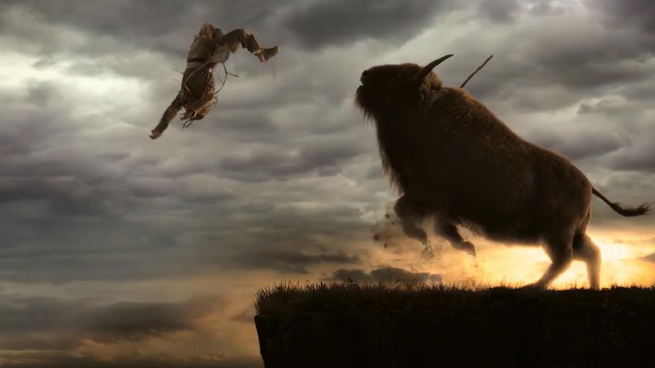 2万年前,冰川时代,父亲带着儿子去打猎,被凶猛的牛给直接撞飞