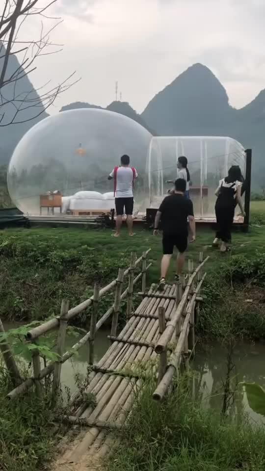 #气球房子#双人气球房子,这么透明,真的方便吗?