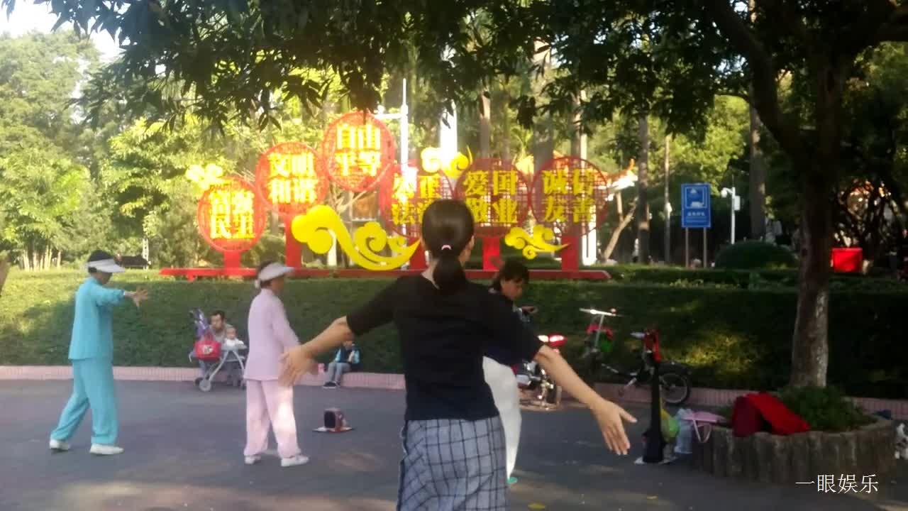 深圳早晨公园里,年轻女子与阿姨们一起跳舞,舞蹈动作柔曼好看