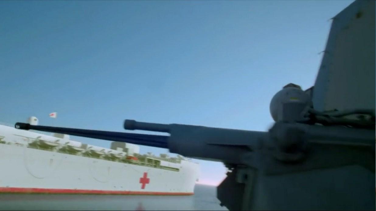 美宙斯盾驱逐舰用遥控机关炮设伏,像打电动射击游戏一样狙杀敌人