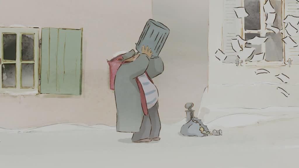 大熊饿到翻垃圾桶,好不容易找到小老鼠,结果还被扇了一巴掌