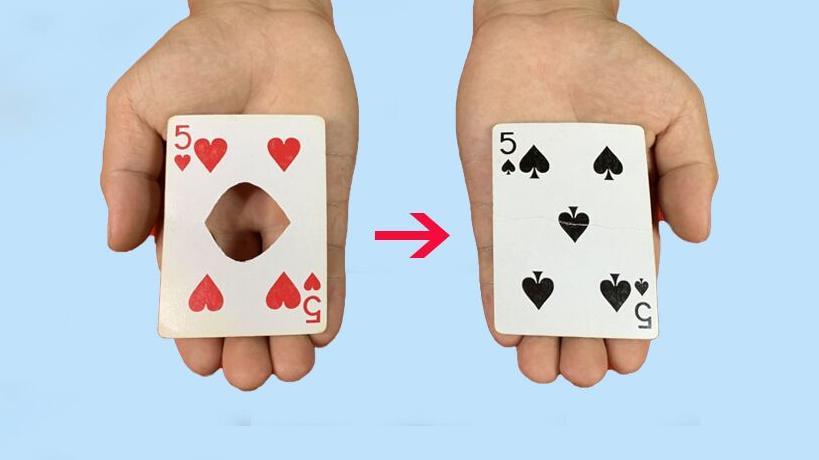 #魔术教学#魔术揭秘:扑克牌上面的洞,隔空从左边隔空转移右边!方法特简单