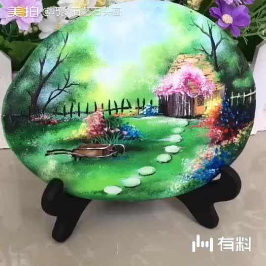 石头画(林间小屋)