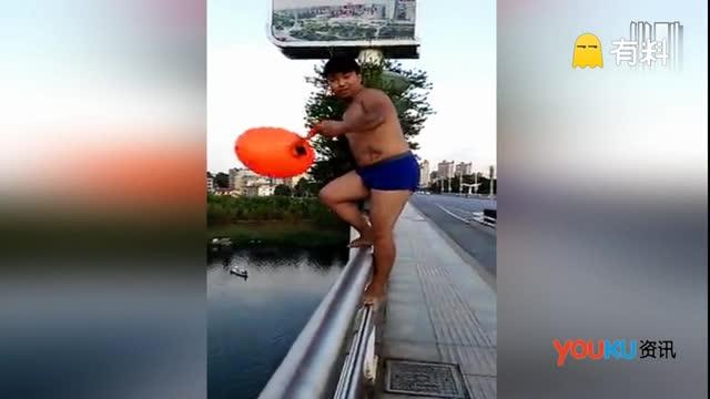 男子模仿奥运冠军跳水 25米高桥上跳下摔成胸骨折