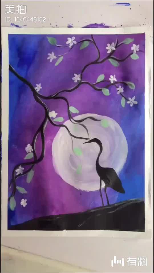 水粉风景:月光下的仙鹤