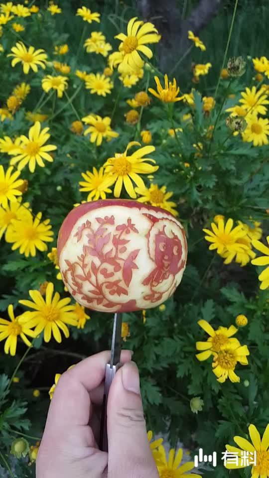 这苹果雕刻的好可爱