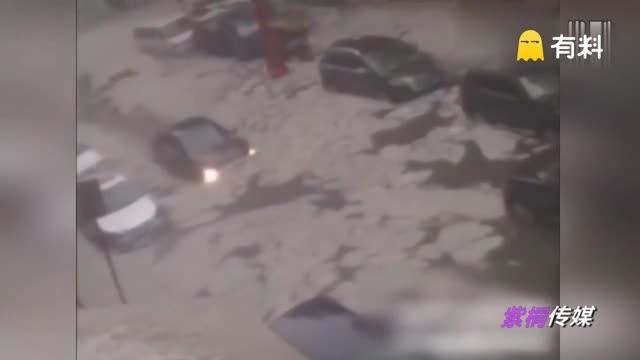 """哈尔滨市区遭冰雹袭击 内涝区如同上演""""冰河时代"""""""