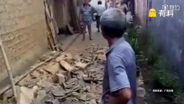 广西梧州苍梧县发生5.4级地震,震深10千米,民居墙壁、农田出现裂缝,广东多地有震感